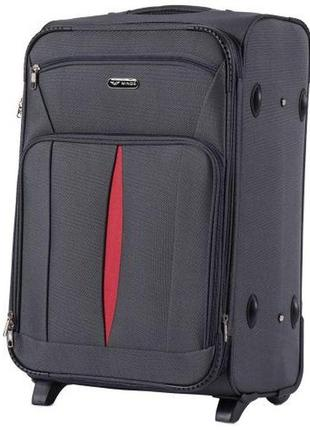 Чемодан тканевый дорожная сумка на 2 колёсах средняя 1601 m wings ( серый  dark grey )