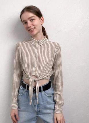 Полосатая укороченная рубашка с завязкой