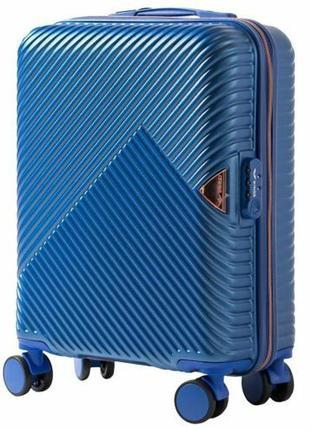 Чемодан дорожный (дорожная сумка) пластиковый на 4 колёсах маленький wn01 s wings (голубой)