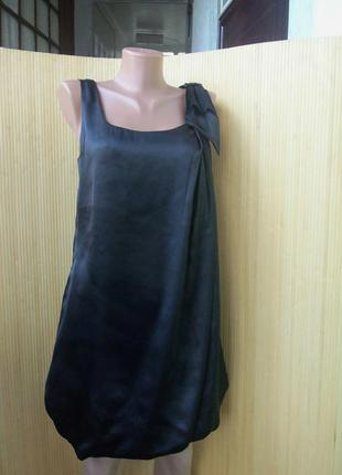 Вечернее/ коктельное нарядное чёрное атласное платье zebra xs/s а-силуэт2