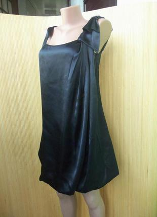 Вечернее/ коктельное нарядное чёрное атласное платье zebra xs/s а-силуэт3
