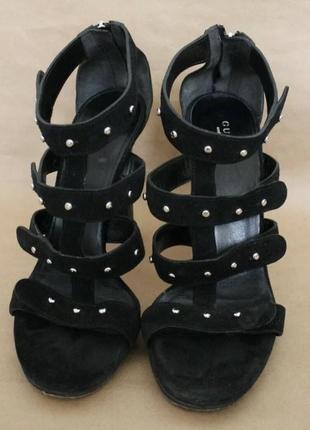 Gucci оригинал замшевые кожаные босоножки черные на высоком каблуке