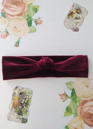 Повязка для волос бархатная эластичная с узлом ободок повязка на голову обруч ободок