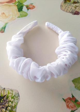 Модный белый обруч ободок из льна ручная работа