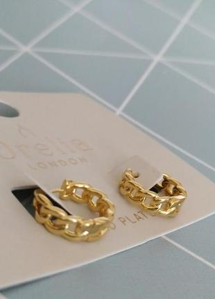 Позолочені сережки кільця, серьги кольца с позолотой от orelia london с сайта asos