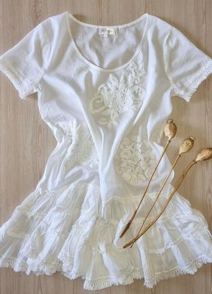 Эксклюзивное короткое платье туника хлопок с вышивкой богема белое