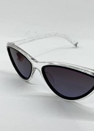 Женские солнцезащитные очки треугольники в прозрачной оправе с поляризованными линзами