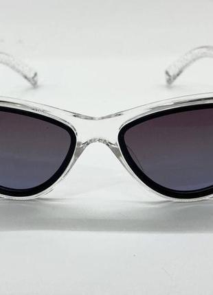 Женские солнцезащитные очки треугольники в прозрачной оправе с поляризованными линзами3 фото