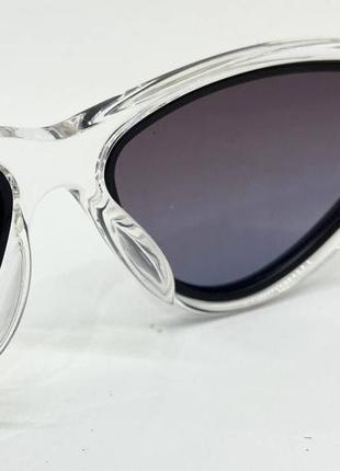 Женские солнцезащитные очки треугольники в прозрачной оправе с поляризованными линзами5 фото
