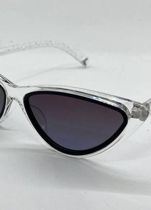 Женские солнцезащитные очки треугольники в прозрачной оправе с поляризованными линзами6 фото