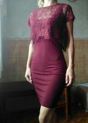 Платье miss selfridge с кружевом, цвет марсала в обтяжку