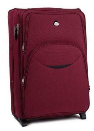 Чемодан тканевый дорожная сумка на 2 колёсах большой wings 1708 l ( бордовый / red )
