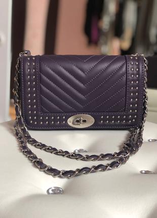 Итальянская кожаная сумка стёганая фиолетовая клатч жіночі шкіряні сумки