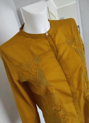 Хлопковая блуза рубашка с вышивкой
