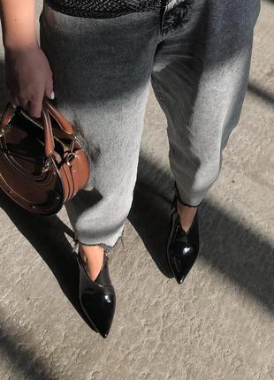 Лакированные туфли с открытой пяточкой zara mango