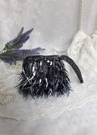 Сумка браслет кошелек клатч маленькая вышита пайетки wristletbag с ручкой петлей на запястье