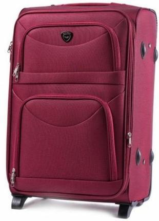 Чемодан тканевый дорожная сумка на 2 колёсах большой wings 6802 l ( бордовый / red )