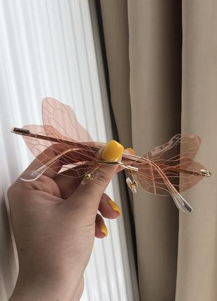 Очки бабочки розовые пудровые необычные крылья для вечеринок