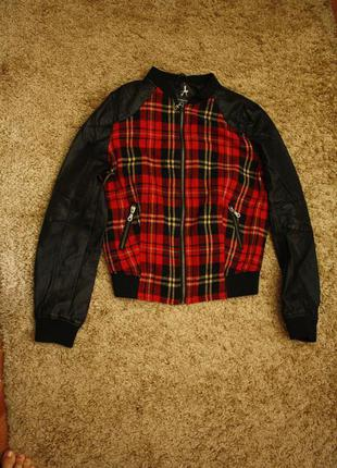 Бомбер куртка с рукавами из экокожи l