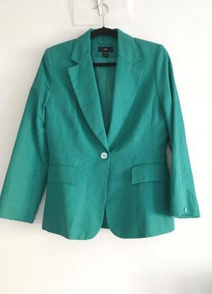 Льняной бирюзовый красивейший пиджак в стиле max mara 12storeez sandro