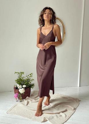 Шелковое платье комбинация с разрезом (в расцветках)