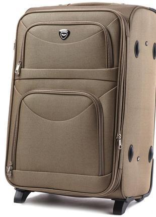 Чемодан тканевый дорожная сумка на 2 колёсах большой wings 6802 l ( песочный / yellow )