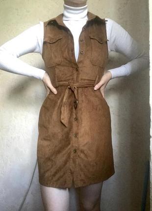 Замшевое платье сарафан мини короткое  на пуговицах с поясом с карманами на груди с воротником без рукавов