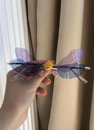 Очки крылья бабочки фиолетовые розовые стильные имиджевые прозрачные необычные