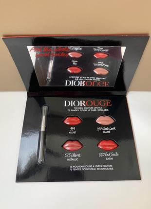 Палетка пробников помад +кисточка dior rouge