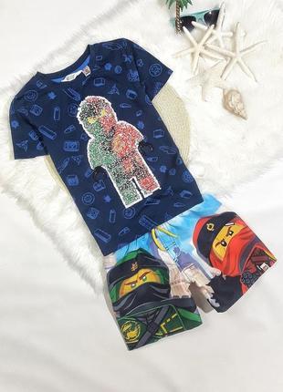 Летний набор футболка + шорты нинзяго, на 7-8 лет