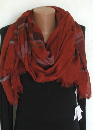 Большой палантин шарф в полоску, марсала, франция -188х96см- новый, с биркой