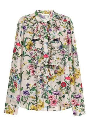 Очаровательная легкая шифоновая цветочная рубашка h&m