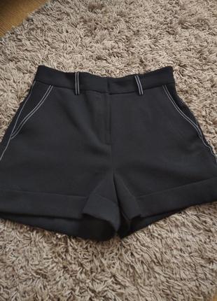 Женские шорты с завышенной посадкой , черные шорты бермуды