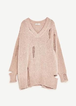 Zara рваный оверсайз свитер