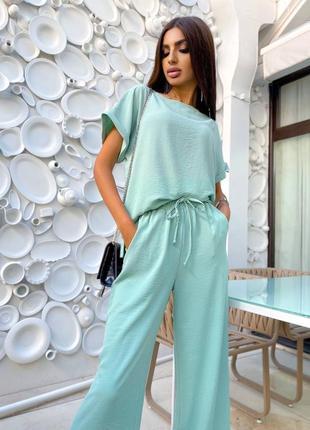 Лёгкий летний бирюзовый мятный костюм брюки палаццо и легкая свободная футболка 🔥