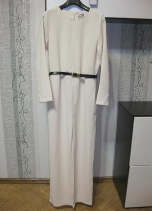 Корпоративный женственный классический молочный комбинезон как брючный костюм 12,л,46