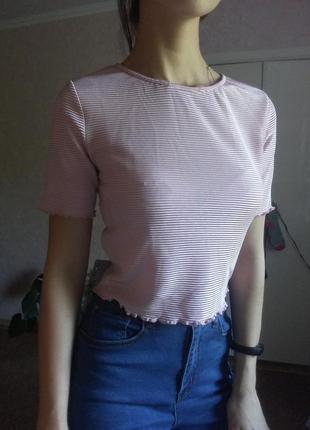 Базовая футболка, розовый перламутр, кроп топ