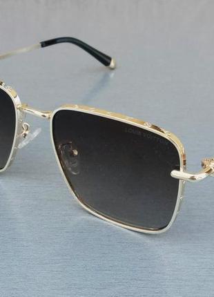 Louis vuitton очки женские солнцезащитные темно коричневые в золотой металлической оправе