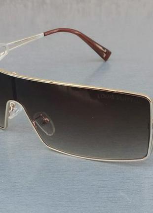 Louis vuitton очки солнцезащитные унисекс обтекаемые коричневые в золотой металлической оправе
