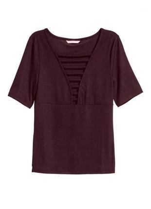 Блуза топ футболка шоколадная стильная эластичная h&m uk 10/38/s