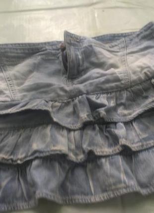 Джинсовая юбочка с рюшиками!