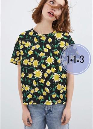 Хлопковая футболка zara в цветочный принт