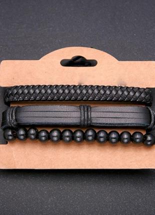 Браслеты черные тройка на затяжке эко кожа недорого купить