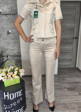 Костюм женский бежевый -брюки и  пиджак(0639)