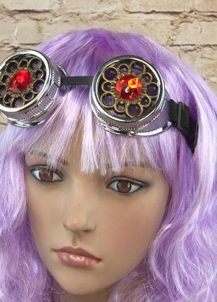 Очки стимпанк премиум серебряного цвета с кристаллами