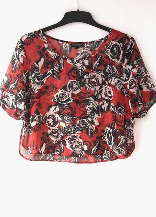 Стильная укороченная блузка topshop с розами. размер uk12eur40.