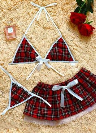 Сексуальный комплект белья с юбкой трусы трусики стринги бюст лифчик треугольники с бантиком на завязках без чашки
