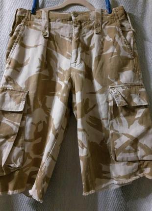 Мужские джинсовые шорты, бриджи бермуды камуфляжные светлые. 100% котон.