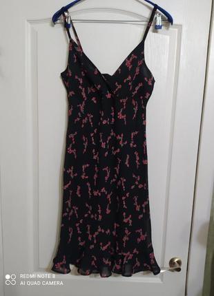 Вискозное платье сарафан на подкладке цветочный принт, 14