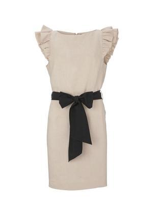Шикарное бежевое льняное платье на поясе warehouse рюши объемные плечи шёлк мини